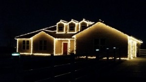 Our house after my husband and son put up the Christmas lights. It's the first time we've had lights on our house in ten years. Hubby got motivated! :)